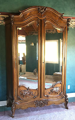 Antique French Armoire, Louis Xv, Walnut, Beveled Mirror, Hand Carved Detailing