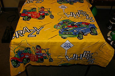 Vintage Fabric Hot Rod Drag City Cartoons 120in by 43in