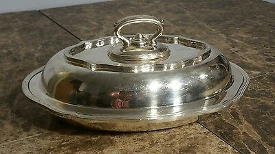 Antique Meriden Brittania Co Silverplate Covered Serving Dish Stamped Extra Dip