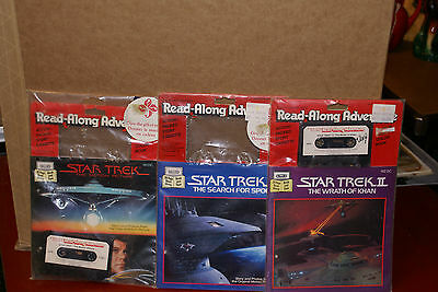 1980's Lot of 3 Star Trek Book and Cassette Read-Along Adventure 24 Pages