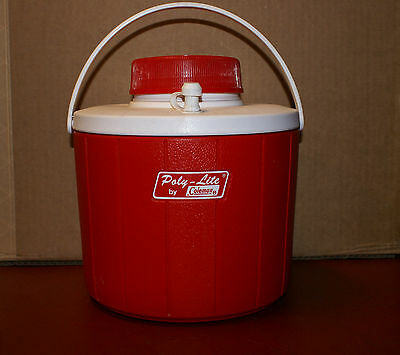 1971 Poly Lite Coleman Water Jug Picnic Red and White Cooler Plastic