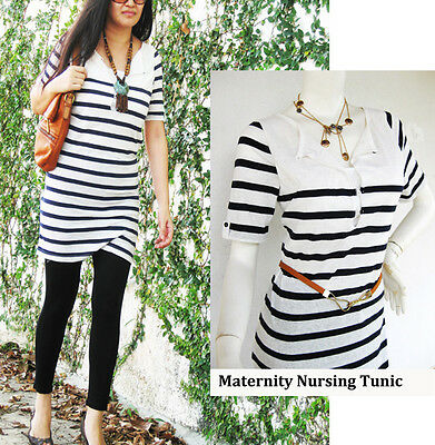 NIKKI Nursing Breast feeding Top NAVY Stripe Early Maternity Clothing NEW Shirt