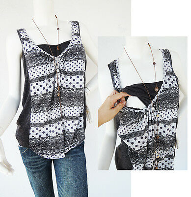 LACE Print Nursing Tank Top Breastfeeding Shirt NEW Maternity Clothing Pregnancy