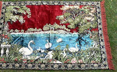 Vintage Swan Tapestry Rug Carpet Vibrant Colors VG Condition