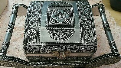 Vintage stamped pewter covered box...ornate!
