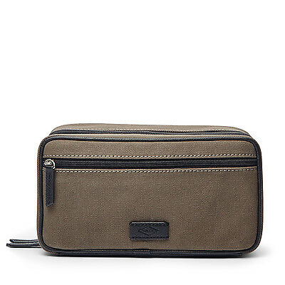 New Fossil Fabric & Leather Double Zip Dual Compartment Toiletry Shave Kit Olive