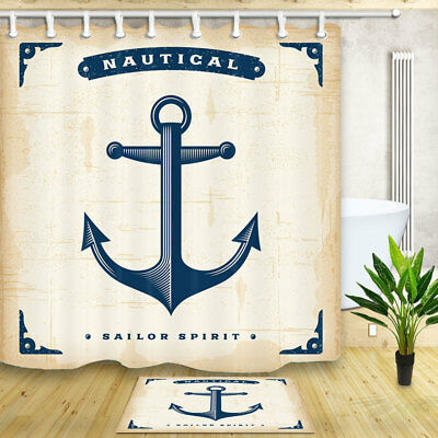 Nautical Ship's Anchor Waterproof Fabric Shower Curtain Bathroom Mat Home Decor