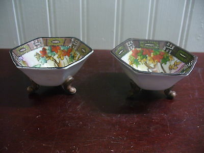 2 Imperial Nippon Hand Painted Porcelain Oriental Garden Motif Footed Nut Dishes