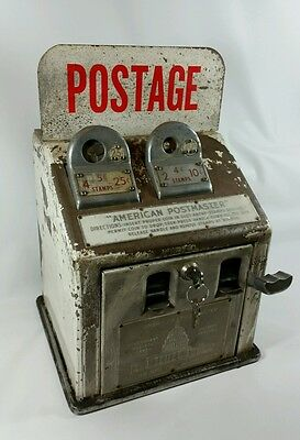 """Dillon Mfg Co """"American Postmaster"""" Postage Stamp Dispenser Coin Machine w/ Key"""
