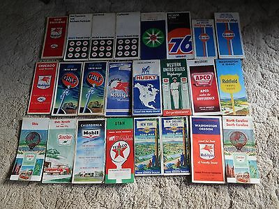 Old Gas Station Road Maps, one lot of 24 ea.