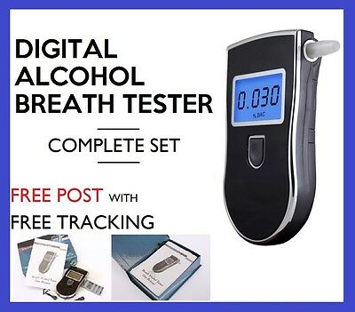 Portable Digital Alcohol Breath Tester Breathalyser Blue Lcd 5 Mouthpieces