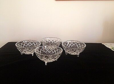 Vintage cut glass/ crystal? sweets bowls on three legs, set of four, desert