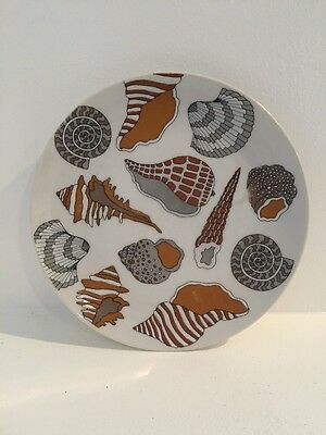 """Sea Shell Beach 7"""" Plate Fitz And Floyd Variations Vintage Rust Brown White Tan"""