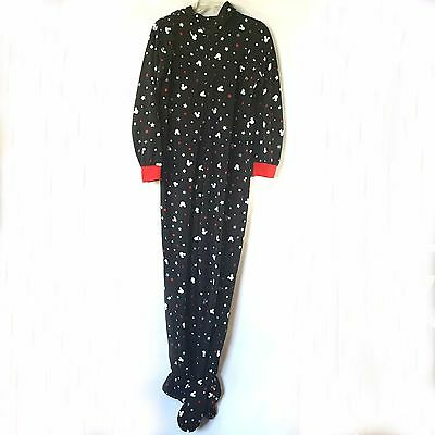 Disney Mickey Mouse Adult Footed Fleece Pajamas Size Small Footie Zip Up Hooded