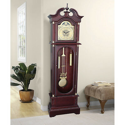 Antique Grandfather Clock Longcase Solid Wood Glass Door Gold Finish Tradisional