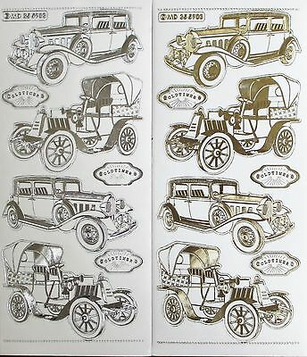 Double Embossed Clear Oldtime Cars Vintage Classic Antique PEEL OFF STICKERS