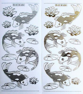 Double Embossed Clear KOI FISH Japanese Oriental Lillies PEEL OFF STICKERS