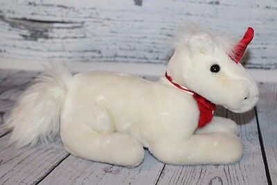 Dakin UNICORN 1988 Playthings Soft Classics White Red Horn Plush Horse Vintage