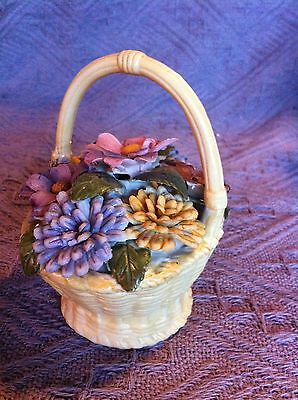 New 1980 Avon Porcelain Bisque Weaved Basket With Flowers