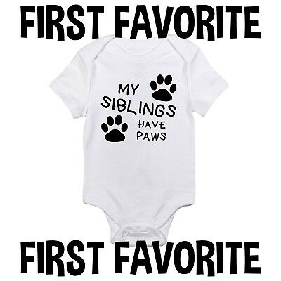 My Siblings Paws Baby Onesie Bodysuit Shirt Dog Cat Pets Infant Unisex Gerber