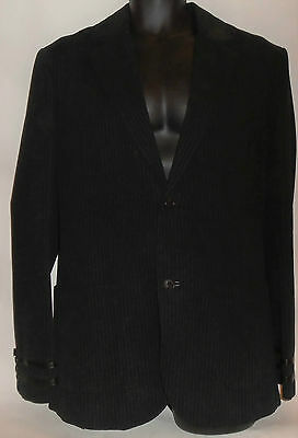 Mens Vintage Armani Exchange Black Pinstripe Cotton Suit Jacket And Waistcoat