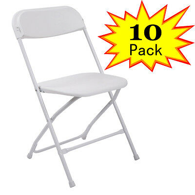 10 Plastic Folding Chairs Wedding Banquet Seat Premium Party Event Chair White