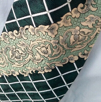 Retro Vintage Mens Ties - Green Brocade Polyester 1970's Polyester