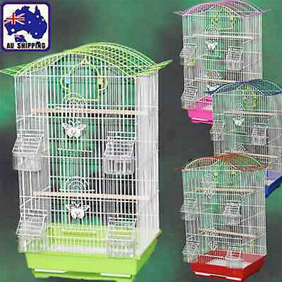 26x33x54cm Parrot Pet Carrier Portable Bird Cage Metal Feeder Perch PKEN281