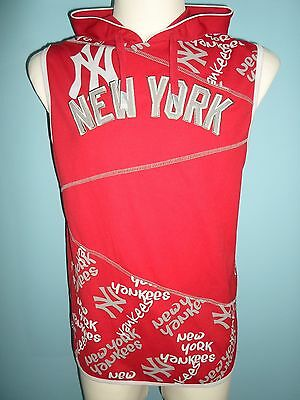 NEW YORK YANKEES by MAJESTIC Hooded vest shirt jersey Baseball size Boys XL #648