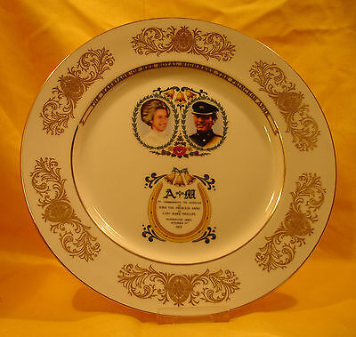 A05 1973 Princess Anne & Mark Phillips - Large Wedding Plate  bt Aynsley