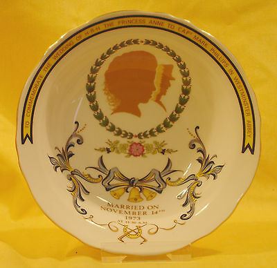 A08 1973 Princess Anne & Mark Phillips Wedding  Dish-Crown Staffordshire