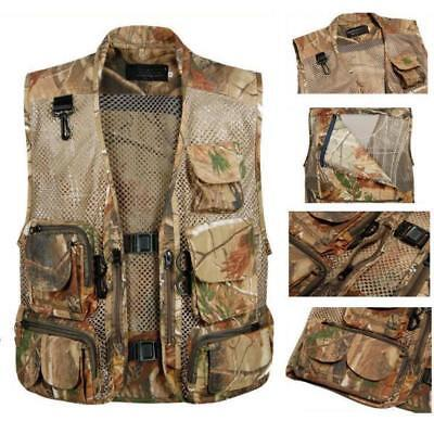 Mens Multi Pocket Fly Fishing Mesh Vest Hunting Outdoor Travel Jacket Waistcoat