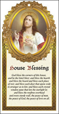 Sacred Heart Jesus Home Blessing Wooden Plaque - Candles Statues Pictures Listed