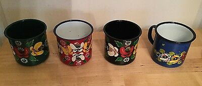 Canal Ware Hand Painted Enamel Mugs X4