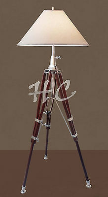 Antique Nautical Floor Tripod Table Shade Lamp Brown Heavy Stand Home Decorative