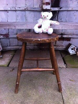 Victorian Vintage Rustic Old Wooden stool Seat Chair Rare Original Solid Kitchen