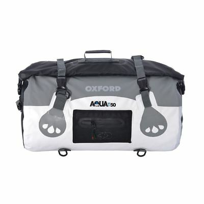 Oxford Aqua T50 Waterproof Motorcycle Roll Bag Tail Pack Bike Tail Bag White New
