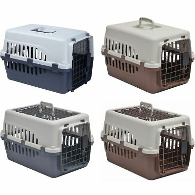 Pet Carrier White & Grey/Brown Large 2 Door Dog Cat Puppy Travel Cage Crate