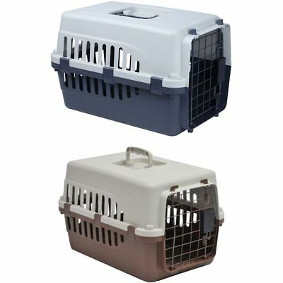Pet Carrier White & Grey/Brown Small Animal Dog Cat Puppy Travel Cage Crate