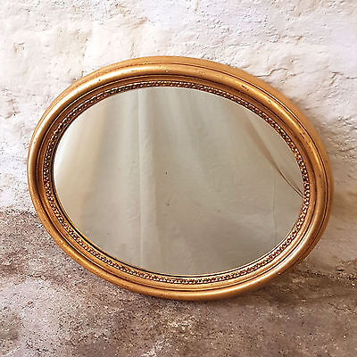 C19th Style Small Oval Gilt & Gesso Wall Mirror - Mid C20th (Antique)