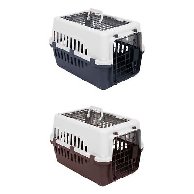 Pet Carrier White & Grey/Brown 2 Door Large Animal Dog Cat Travel Cage Crate