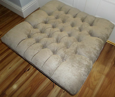 Large Square Sage Footstool/Coffee Table/Ottoman with Taller Leg
