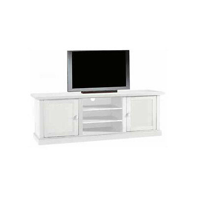 Tv Bench, Classic Style, In Solid Wood And Mdf With Matt White Finish