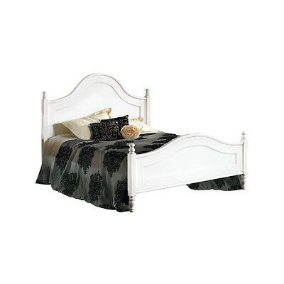Double Bed, Classic Style, In Solid Wood And Mdf With Matt White Finish