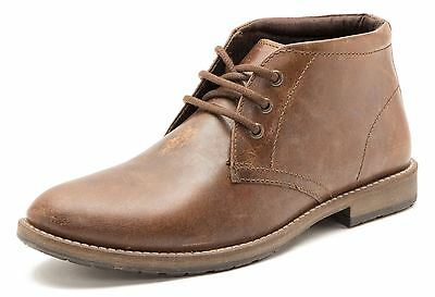 Red Tape Bexton Leather Lace Up Chukka Desert Mens Boots Cleated Brown 864
