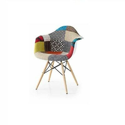 Fabric Upholstery Armchair With Wood And Steel Legs, Contemporary Style