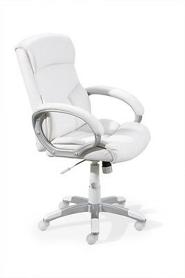Alberti  Office Chair With Wheels, Height Adjustable. Metal. Seat In White