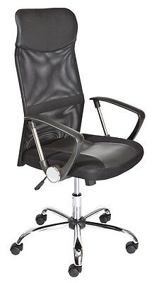 Torino  Office Chair C / Wheels, Height Adjustable. Metal, Seat In Black Leather