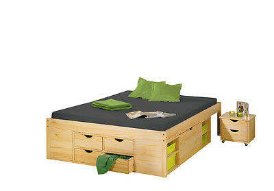 Claas 180X200   Bed With Boxes And Night Table With Wheels Included 186,5X209X47