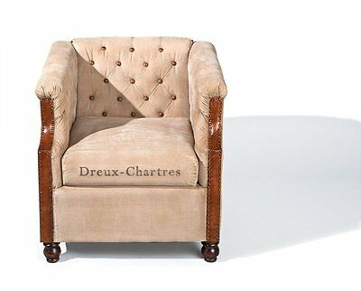 Dreux-ChartresArmchair. Size  77X77X82H - Beige Leather And Fabric.